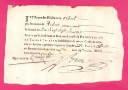 1664 - ORBEIL (PUY-DE-DÔME) RECU POUR LA PERCEPTION DE LA TAILLE POUR LA COMMUNE D´ORBEIL AU TITRE DE L´ANNEE 1663 -SCAN - Historical Documents