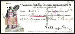 LOT De 2 RECUS De L EQUITABLE Des ETATS UNIS Cie D Assurance Annees 1890 Et 1911 TIMBRES FISCAUX - Andere