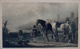 Gravure Ancienne Sans Cadre Chevaux ,personnages,chiens, Vaches - Engravings