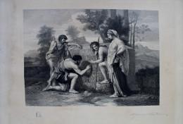 Gravure Ancienne D'une Scène Mythologique Signée Lamotte - Engravings