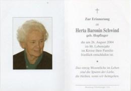 Sterbebild Von - Herta Baronin Schwind Geb. Hopfinger - Gest. 26. August 2004 Im 86. Lj - Religion &  Esoterik
