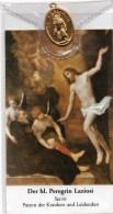 Andenkenbild Von Hl. Peregrin Laziosi Servit - Patron Der Kranken Und Leidenden - Mit Goldenem Anhänger - Religion &  Esoterik
