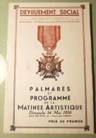 PROGRAMME DEVOUEMENT SOCIAL PARIS 1950 + NOMS DES NOMINES POLITIQUE GUERRE SPECTACLE CHEVALIER OFFICIER - Programmes