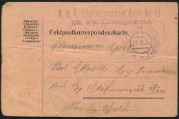 19.WWI Austro-Hungarian 1914 K.U.K. FELDPOSTAMT # 61 Card - Covers & Documents