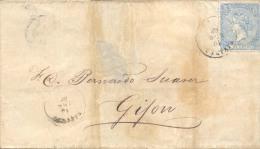 Año 1866 Edifil 81  4c Sello Isabel II Envuelta  Matasellos Rivadeo A Gijon - Lettres & Documents