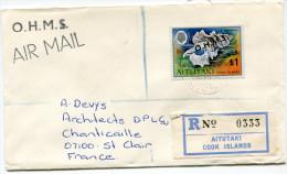 AITUTAKI LETTRE RECOMMANDEE PAR AVION DEPART AITUTAKI ? JL 81 POUR LA FRANCE - Aitutaki