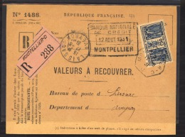 L 147  -   France  :  Yv  273  (o)  Sur Valeurs à Recouvrer - Covers & Documents