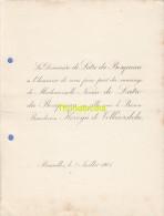 FAIRE PART MARIAGE DE LATRE DU BOSQUEAU BARON KERVYN DE VOLKAERSBEKE BRUXELLES 1901 - Mariage