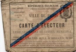 CARTE  D´ ELECTEUR . 1908 -  VILLE  DE  PARIS -  20éme Arrondissement , Quartier De Charonne -  54 Rue Planchat - - Non Classés