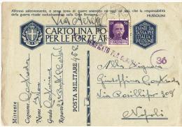STORIA POSTALE REGNO,CARTOLINA POSTALE FORZE ARMATE,IN FRANCHIGIA,SECONDA GUERRA 39-45,POSTA MILITARE 45.P - War 1939-45