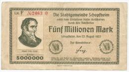 Germany Notgeld 1923. 5 Funf Millionen Mark Schopfheim 5.000.000 Mark 5000000 - [11] Local Banknote Issues