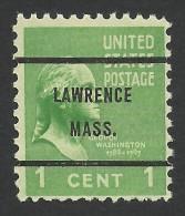 Lawrence, Massachusetts, 1 C., Sc # 804 - Precancels