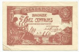 Portugal Notgeld Bronze 10 Dez Centavos 1917. AB Serie  DAMAGED Down Left Corner Repaired - Portugal