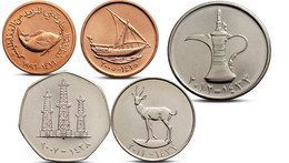 UNITED ARAB EMIRATES 5, 10, 25, 50 FILS 1 DIRHAM 5 COINS SET UNC - Emirats Arabes Unis