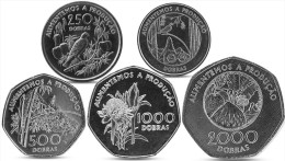 SAO TOME AND PRINCIPE 100, 250, 500, 1000, 2000 DOBRAS 5 COINS SET 1997 UNC - Sao Tome Et Principe