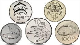 ICELAND 1, 5, 10, 50, 100 KRONUR 5 COINS SET UNC - Islande
