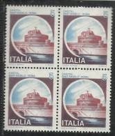 ITALIA REPUBBLICA ITALY REPUBLIC 1980 CASTELLI CASTLE CASTEL SANT.ANGELO ROMA LIRE 5 QUARTINA BLOCK MNH - 1971-80: Neufs