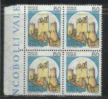 ITALIA REPUBBLICA ITALY REPUBLIC 1980 CASTELLI CASTLE CASTELLO ROCCA DI CALASCIO LIRE 50 QUARTINA BLOCK MNH - 1971-80: Neufs
