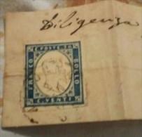STAMPS ITALIA SARDEGNA 1861 20 CENT AZZURRO SCURO SU FRAMMENTO - Sardaigne