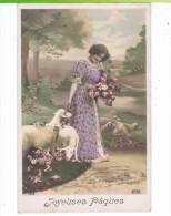 CPA-1911-FANTAISIE-JOYEUSES PÂQUES-UNE JEUNE FEMME AVEC DES MOUTONS- - Pâques