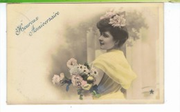 CPA-1905-FANTAISIE-HEUREUX ANNIVERSAIRE-UNE JEUNE FEMME DE PROFIL AVEC UN BOUQUET DE FLEURS- - Pâques