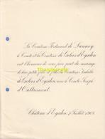 FAIRE PART MARIAGE COMTESSE DE LANNOY DE GELOES D'EYSDEN D'OUTREMONT CHATEAU D'EYSDEN 1904 - Huwelijksaankondigingen