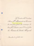 FAIRE PART MARIAGE COMTE D'OUTREMONT DE MARNIX DE SAINTE ALDEGONDE BRUXELLES 1905 - Huwelijksaankondigingen