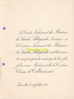 FAIRE PART MARIAGE COMTE DE MARNIX DE SAINTE ALDEGONDE D'OUTREMONT BRUXELLES 1905 - Mariage
