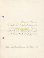 FAIRE PART MARIAGE PEERS DE NIEUWBURGH BARONNE OSY DE ZEGWAART CHATEAU DES BRIDES OOSTCAMP OOSTKAMP 1897 - Mariage