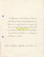 FAIRE PART MARIAGE GOUVERNEUR DE LA PROVINCE D'ANVERS BARONNE OSY DE ZEGWAART PEERS DE NIEUWBURGH  D'HOOGBOOM CAPPELLEN - Mariage