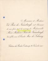 FAIRE PART MARIAGE PEERS DE NIEUWBURGH COMTE MAX DE LALAING CHATEAU DES BRIDES OOSTCAMP OOSTKAMP 1901 - Mariage