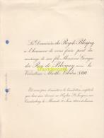 FAIRE PART MARIAGE DU ROY DE BLICQUY VICOMTESSE VILAIN XIIII CAUDENBERG 1900 - Mariage