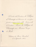 FAIRE PART MARIAGE COMTE DE VILLEGAS DE CLERCAMP T' KINT CHATEAU DE BEVER STROMBEEK 1903 - Huwelijksaankondigingen