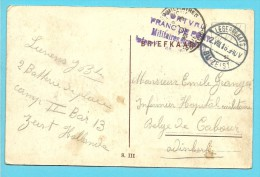 Portvrij Franc De Port Militaires étrangers Internés Dans Les Pays-Bas - Legerplaats Zeist / Kaart INTERNEERINGSKAMP - Weltkrieg 1914-18