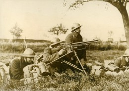 Belgique WWII Manoeuvres Militaires Fusil Mitrailleur Ancienne Photo De Presse 1937 - Oorlog, Militair
