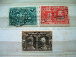 Canada 1908 Queen - King Cartier Champlain # 96-97-98 = 11.50 $ Used - 1903-1908 Reign Of Edward VII
