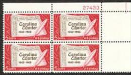 Plate Block -1963 USA Carolina Charter Stamp Sc#1230 Book Guill Pen Calligraphy - Other