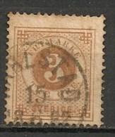 Timbres - Suède - 1872 -  3 Ore - - Oblitérés