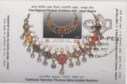 India  2001  Minerals  Gems & Jwellery  Precious Stones Necklace  Maximum Card  # 86755 Inde Indien - Minerals
