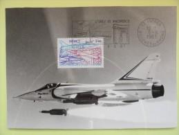 CARTE MAXIMUM CARD MIRAGE 2000  FLAMME ISTRES BOUCHES DU RHONE FRANCE - Vliegtuigen
