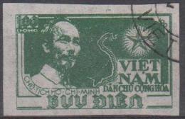 NORTH VIETNAM - 1951 IMPERF 100d Green Ho Chi Minh - Map. Scott 2. Used - Viêt-Nam