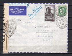 Censor 1940 PAR CLIPPER Lyon > Ella Stach Monroe Place Brooklyn New York (f862) - France