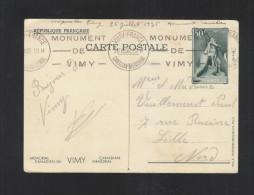 Carte Postale Monument De Vimy 1936 - Ganzsachen