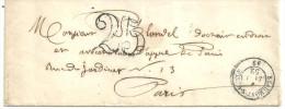 Beaumont St Vesle  Janvier 1852  Au Dos Paris Taxe 25 - Marcophilie (Lettres)