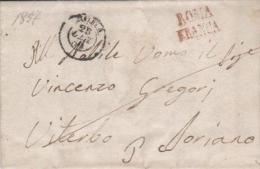 Italy 1857 Roma To Viterbo Soriano - FRANCA - Papal States
