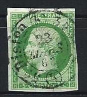"YT 12 "" Napoléon III 5c. Vert "" 1854 CAD Distribution  Bureaux De Paris - 1853-1860 Napoleon III"