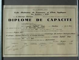 Jumet - Diplôme De Capacité - Bobinage électrique - École D'Industrie, De Commerce Et D'Arts Appliqués - 1951 - Diploma's En Schoolrapporten