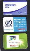 MALTA - 3 MALTACOM INFORMATION CARDS - Malta
