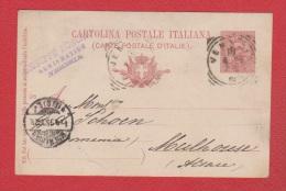 Italie  //  Entier Postal   //  De Gênes  // Pour Mulhouse  //  16/11/00 - 1878-00 Humbert I