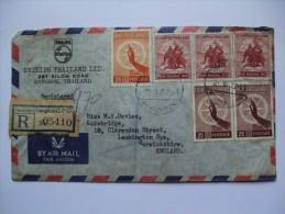 THAILAND 1957 REGISTERED AIR MAIL COVER BANGKOK TO LEAMINGTON SPA ENGLAND - Thailand